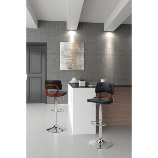 Lynx Wood and Chrome Upholstered Leatherette Bar Chair