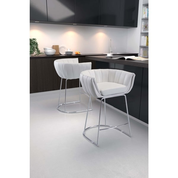 Latte Chrome and Leatherette Padded Round Counter Chair (Set of 2)