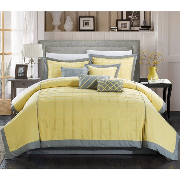 Chic Home Oversized and Overfilled Reynold Yellow 12-piece Bed in a Bag with Sheet Set