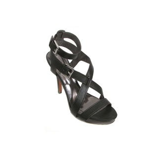Coach Aleah Women's Black Leather Platform Stiletto Sandals