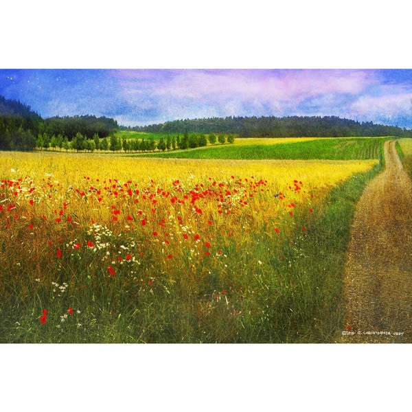Marmont Hill - Barley And Poppies by Chris Vest Painting Print on Canvas