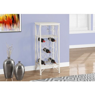 Home Bar 40 inch White Metal Wine Bottle and Glass Rack
