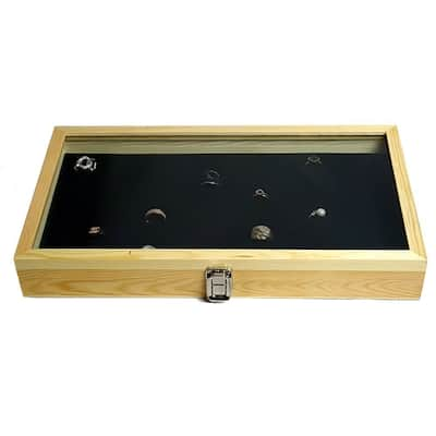 Natural Wood Case with Tempered Glass Top Lid and 72 Slot Ring Foam