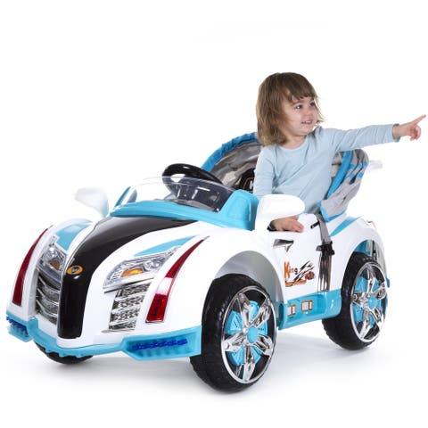 Ride On Toy Car, Battery Powered Sport Car With Collapsible Canopy & Remote by Rockin Rollers- Toys for Boys & Girls