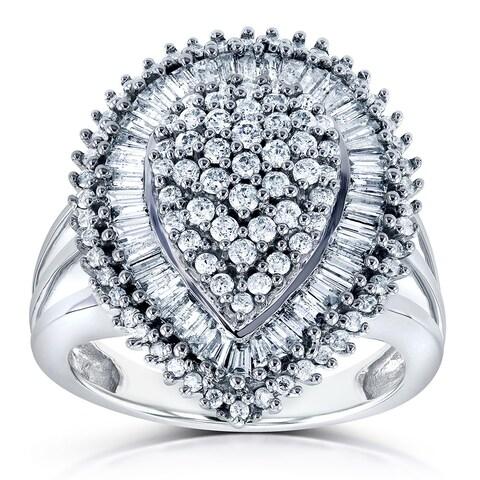Annello by Kobelli 10k White Gold 1ct TDW Diamond Pear Shape Ring