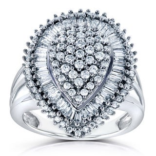 Annello by Kobelli 10k White Gold 1ct TDW Round and Baguette Bead Prong Diamond Pear Shape Ring
