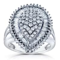 Annello by Kobelli 10k White Gold 1ct TDW Diamond Pear Shape Ring