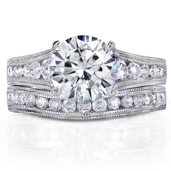 Annello by Kobelli 14k White Gold 2 4/5ct TGW Forever One DEF Moissanite and Diamond Channel Milgrain Vintage Bridal Set. Opens flyout.