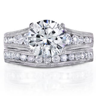 Annello 14k White Gold 2 4/5ct TCW Forever One Moissanite and Diamond Milgrain Bridal Set (G-H, I1-I2)