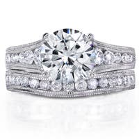 Annello by Kobelli 14k White Gold 2 4/5ct TGW Forever One DEF Moissanite and Diamond Channel Milgrain Vintage Bridal Set