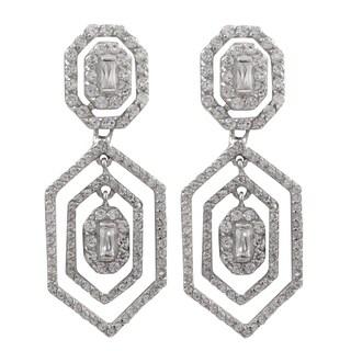 Luxiro Sterling Silver Cubic Zirconia Geometric Floating Dangle Earrings