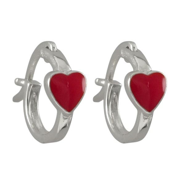 Luxiro Sterling Silver Children X27 S Enamel Heart Hoop Earrings Red