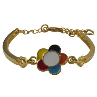 Luxiro Gold Finish Children's Multi-color Enamel Flower Bangle Bracelet - Blue
