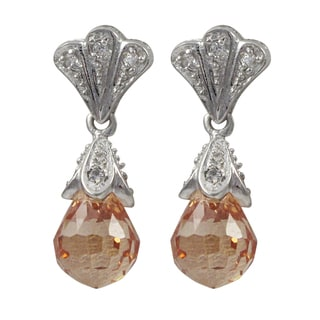 Luxiro Sterling Silver Champagne Cubic Zirconia Teardrop Dangle Earrings