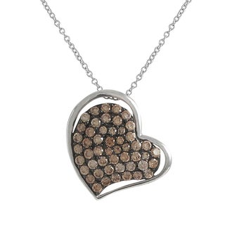 Luxiro Two-tone Sterling Silver Champagne Cubic Zirconia Heart Pendant Necklace