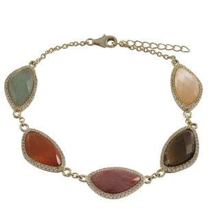 Luxiro Gold Finish Sterling Silver Semi-precious Gemstone Bracelet