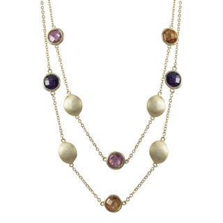 Luxiro Brushed Gold Finish Cubic Zirconia Two-row Coin Necklace|https://ak1.ostkcdn.com/images/products/10912980/P17944157.jpg?impolicy=medium