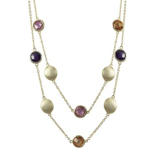 Luxiro Brushed Gold Finish Cubic Zirconia Two-row Coin Necklace