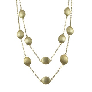Luxiro Brushed Gold Finish Oval Coin Two-row Necklace - White