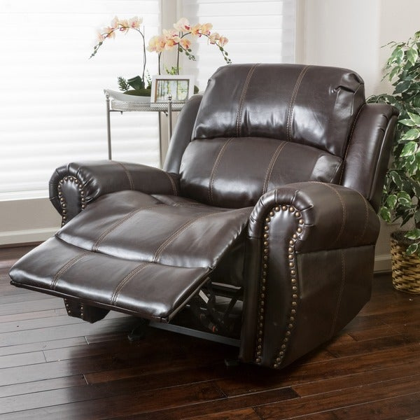 charlie pu leather glider recliner club chair by christopher knight home free shipping today