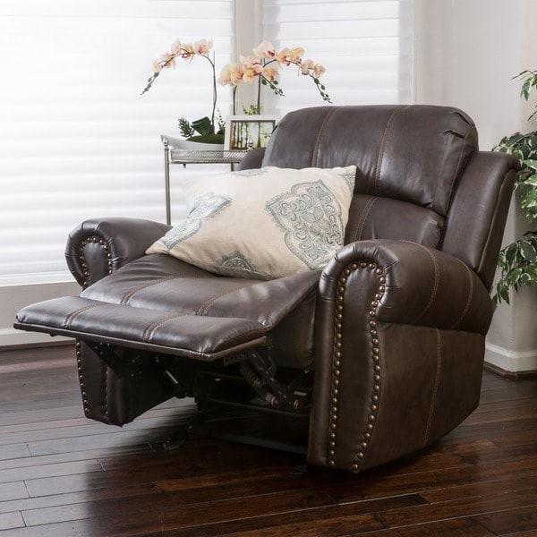 Charlie Bonded Leather Glider Recliner by Christopher Knight Home. Opens flyout.