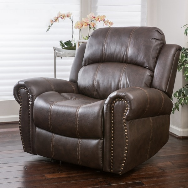 Charlie Bonded Leather Glider Recliner Club Chair by Christopher Knight Home - Free Shipping Today - Overstock.com - 17944226 & Charlie Bonded Leather Glider Recliner Club Chair by Christopher ... islam-shia.org