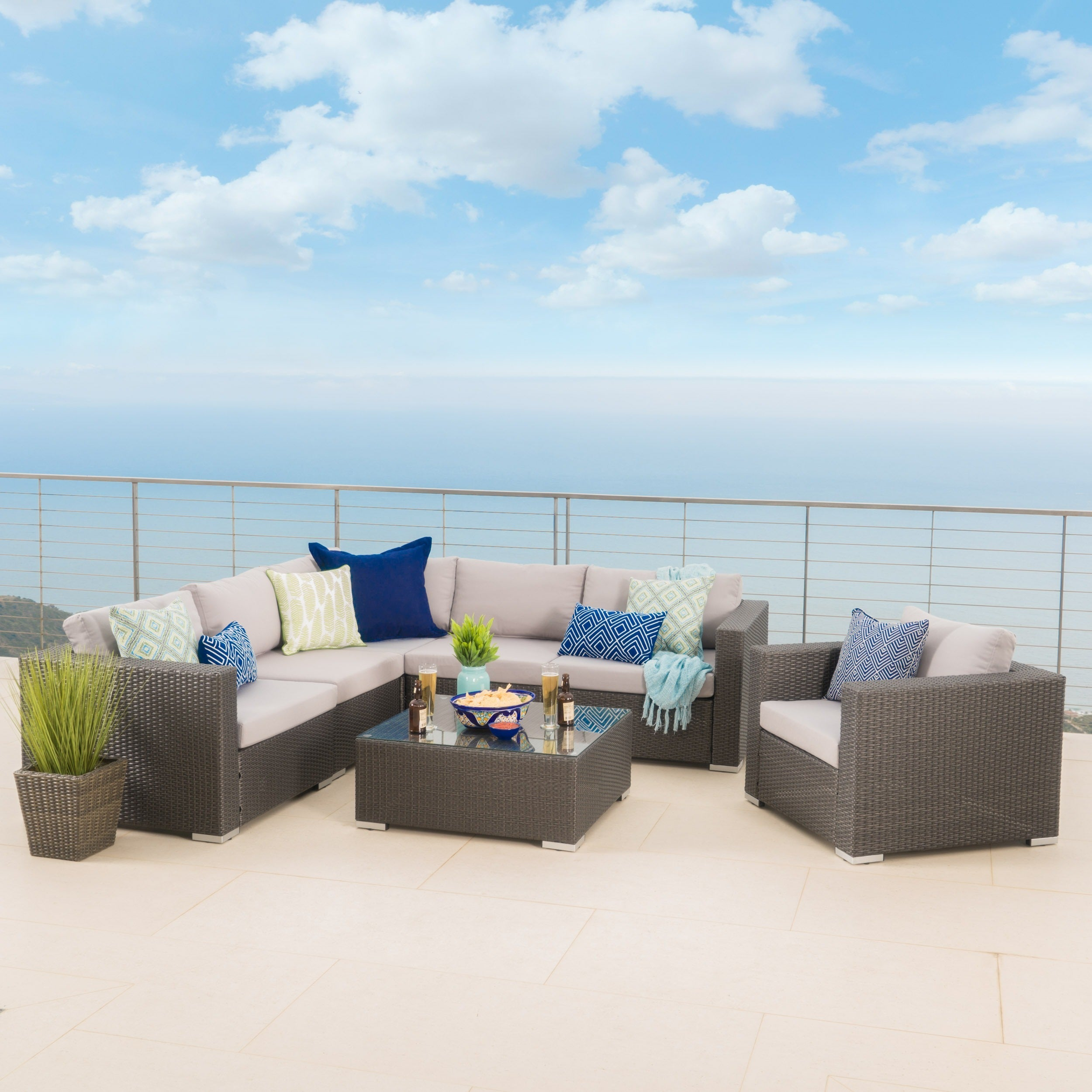 Shop Santa Rosa Outdoor 7-piece Wicker Seating Sectional Set with ...