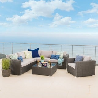 Santa Rosa Outdoor 7-piece Wicker Seating Sectional Set with Cushions by Christopher Knight Home