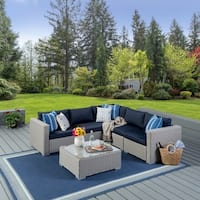 Santa Rosa Outdoor 6-piece Wicker Seating Sectional Set with Cushions by Christopher Knight Home