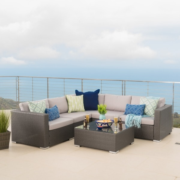 Santa Rosa Outdoor 6-piece Wicker Seating Sectional Set with Cushions by Christopher Knight Home : sectional cushions - Sectionals, Sofas & Couches
