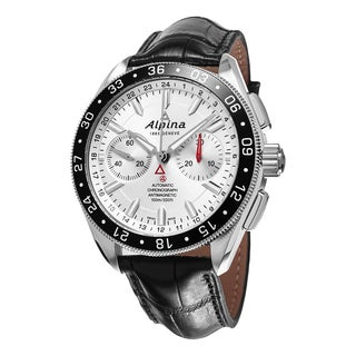 Alpina Men's AL-860S5AQ6 'Alpiner' Silver Dial Black Leather Strap Chronograph Swiss Automatic Watch