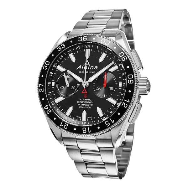Shop Alpina Mens Alpiner Black Dial Stainless Steel Chronograph - Alpina automatic watch