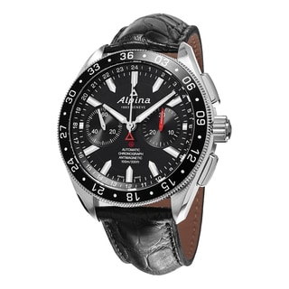 Alpina Men's AL-860B5AQ6 'Alpiner' Black Dial Black Leather Strap Chronograph Swiss Automatic Watch