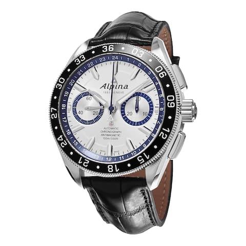 Alpina Men's AL-860AD5AQ6 'Alpiner Race for Water' Silver Dial Black Leather Strap Swiss Automatic L