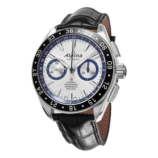 Alpina Men's AL-860AD5AQ6 'Alpiner Race for Water' Silver Dial Black Leather Strap Swiss Automatic L