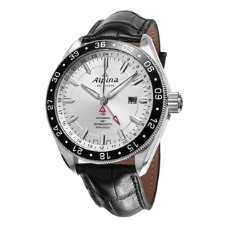 Alpina Men's AL-550S5AQ6 'Alpiner' Silver Dial Black Leather Strap GMT Swiss Automatic Watch