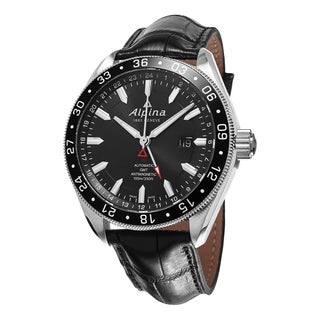 Alpina Men's AL-550G5AQ6 'Alpiner' Black Dial Black Leather Strap GMT Swiss Automatic Watch