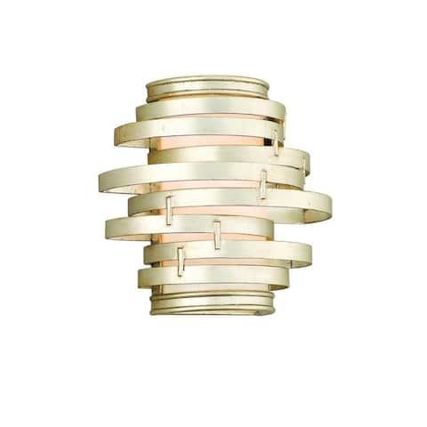 Corbett Lighting Vertigo 3-light Silver Leaf Wall Sconce with Caramel Ice Shade