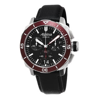 Alpina Men's AL-372LBBRG4V6 'SmartimePilot' Black Dial Black Leather Strap Chronograph Swiss Automatic Watch