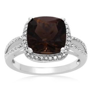 3 3/4 Carat Cushion Cut Smoky Quartz and Halo Diamond Ring