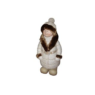 28-inch Boy with White and Brown Coat and Hat Standing Statuary