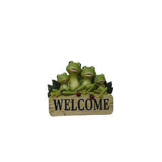 Benzara 8-inch Polyresin Welcome Sign with Frog Family
