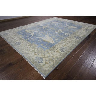 H8971 Oriental Oushak Hand-knotted Blue/ Ivory Border Fish Design Wool Rug (9' x 12')