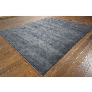 H8988 Wool and Silk Moroccan Collection Hand-knotted Grey Oriental Area Rug (8' x 10')