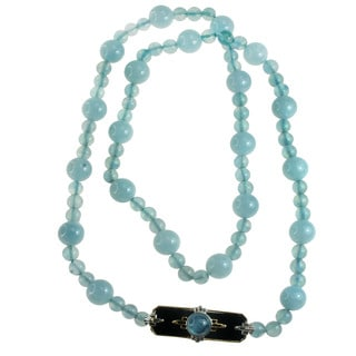 One-of-a-kind Michael Valitutti Flourite, Aquamarine & Black Onyx Gemstone Necklace