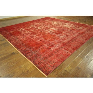 H9024 Unique Square Overdyed Red Oriental Hand-knotted Wool Area Rug (11' Round)