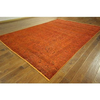 H8994 Traditional Vintage Orange Overdyed Hand-knotted Oriental Wool Rug (8' x 12')