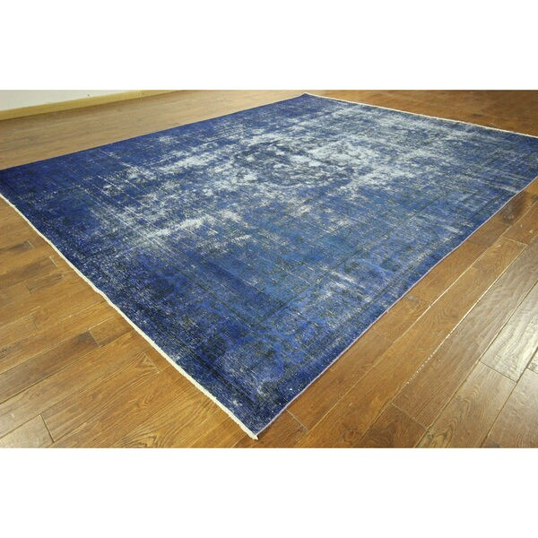 Vintage Persian Bokhara Wool Area Rug 10 X 13: Shop H9026 Traditional Hand-knotted Overdyed Blue Oriental