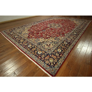 GT282 European Red and Navy Blue Palace Size Isfahan Hand-knotted Rug (11' x 17')