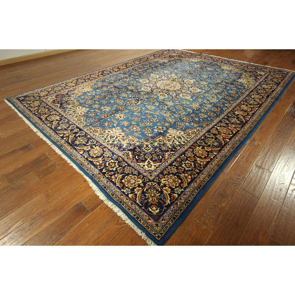 Hand Knotted Persian Isfahan Wool Area Rug: GT624 Amazing Rare Blue/ Dark Blue Isfahan Hand-knotted